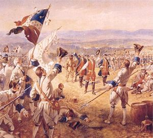 Alexander Ogden's portrayal of Montcalm (foreground in white, lower right) cheering his troops on at the Battle of Ticonderoga or Carillon, depending on which side of the border you are on.