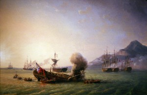 Here is an image from a painting of the battle.