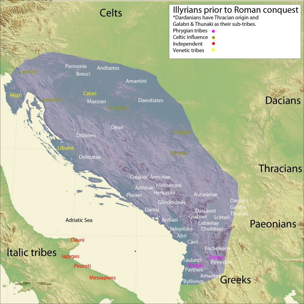 Map of the Illyrian tribes