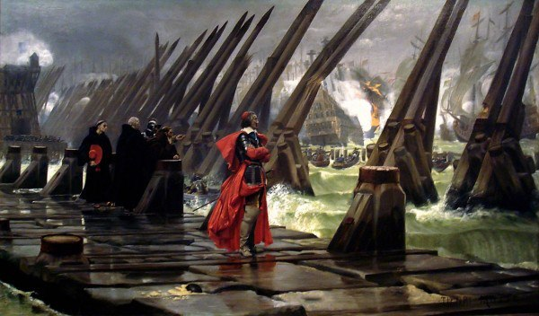 Cardinal Richelieu examines the sea wall blocking the Royal Navy from La Rochelle.